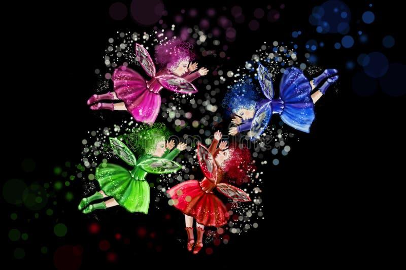在圈子安置的四位圣诞节神仙在黑背景 红色,绿色,蓝色和紫色神仙 皇族释放例证