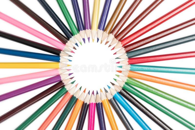 在圈子排队的铅笔 库存照片