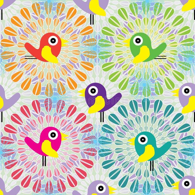 在圈子无缝的样式里面的鸟 库存例证