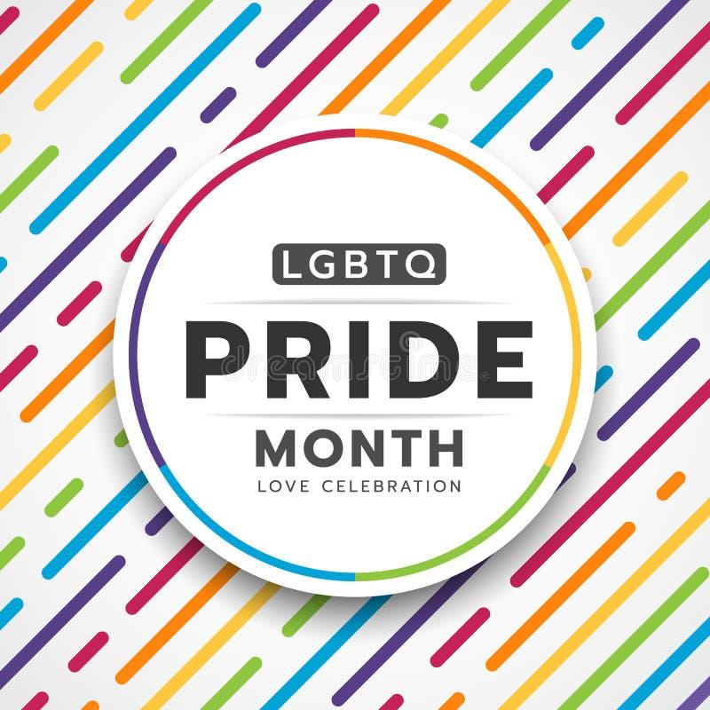 在圈子横幅的愉快的LGBTQ自豪感月印刷术文本在抽象五颜六色的彩虹线破折号条纹纹理背景传染媒介d 向量例证