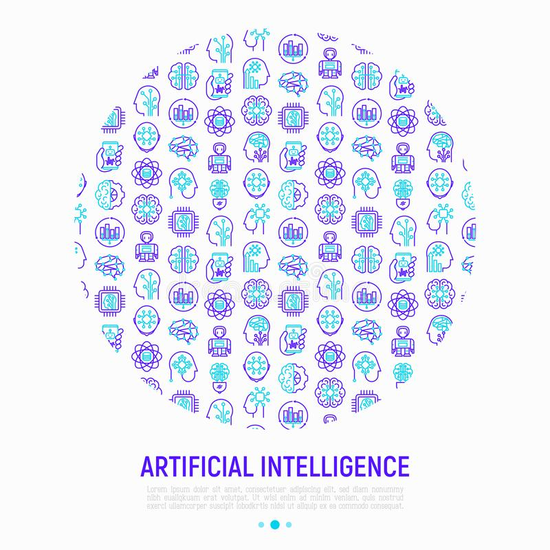 在圈子的人工智能概念 向量例证