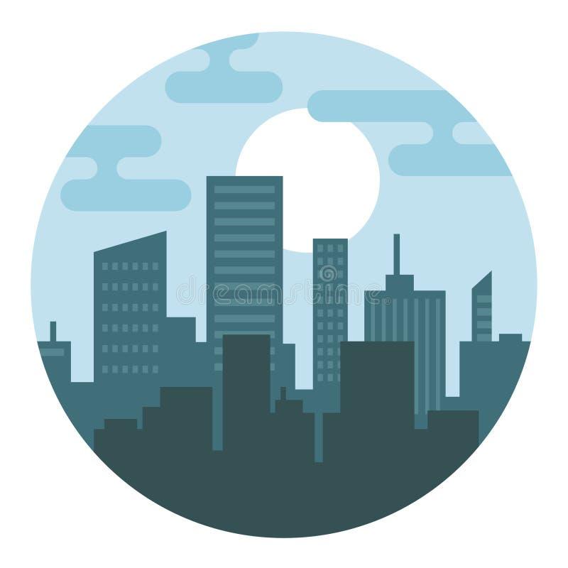 在圈子的城市剪影 向量例证
