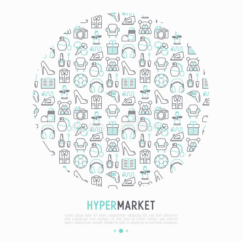 在圈子的大型超级市场概念与稀薄的线象 向量例证