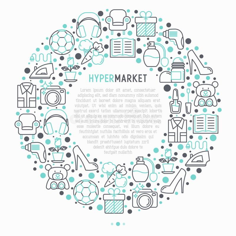 在圈子的大型超级市场概念 库存例证