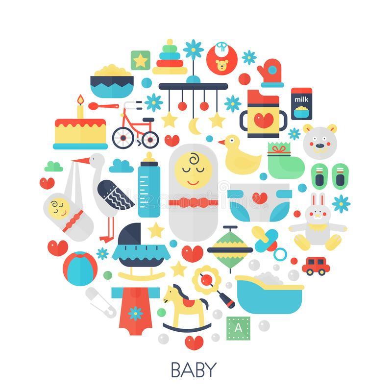 在圈子的婴孩平的infographics象-上色小的婴孩孩子盖子的,象征,模板概念例证 皇族释放例证
