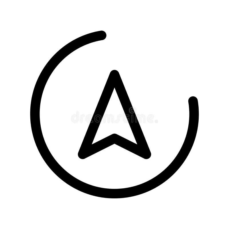 在圈子的方向箭头 航海题材 概述现代设计元素 与环绕的简单的黑平的传染媒介标志 向量例证