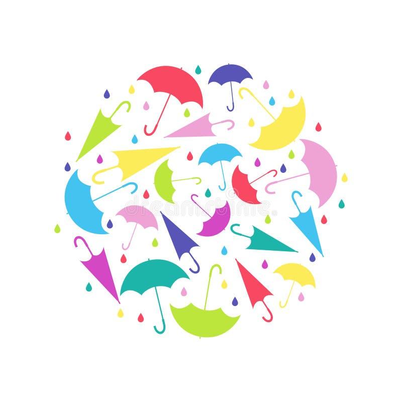 在圈子的样式从伞用在白色背景的不同的位置 向量例证