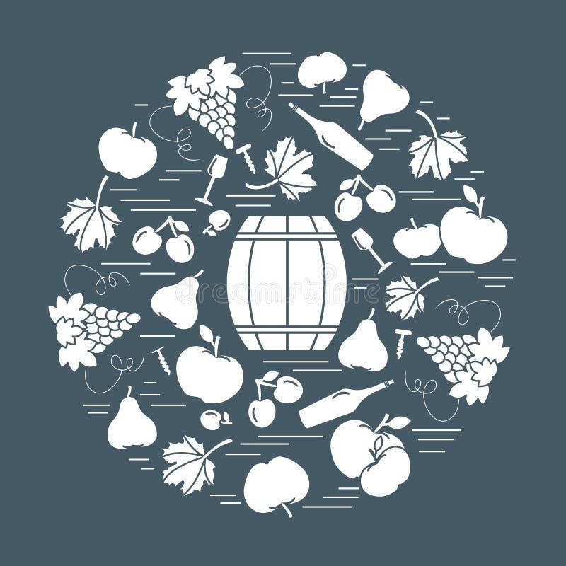 在圈子的秋天标志 桶,拔塞螺旋,酒杯,梨, p 库存例证