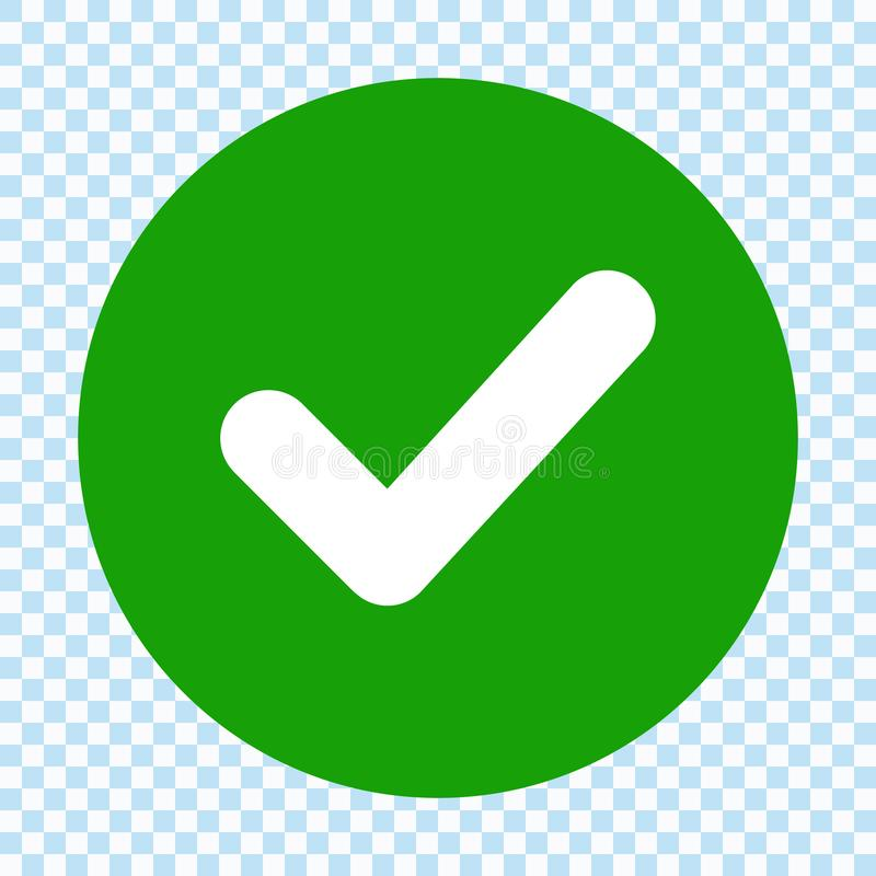 在圈子的绿色校验标志 平的设计 查出 向量例证