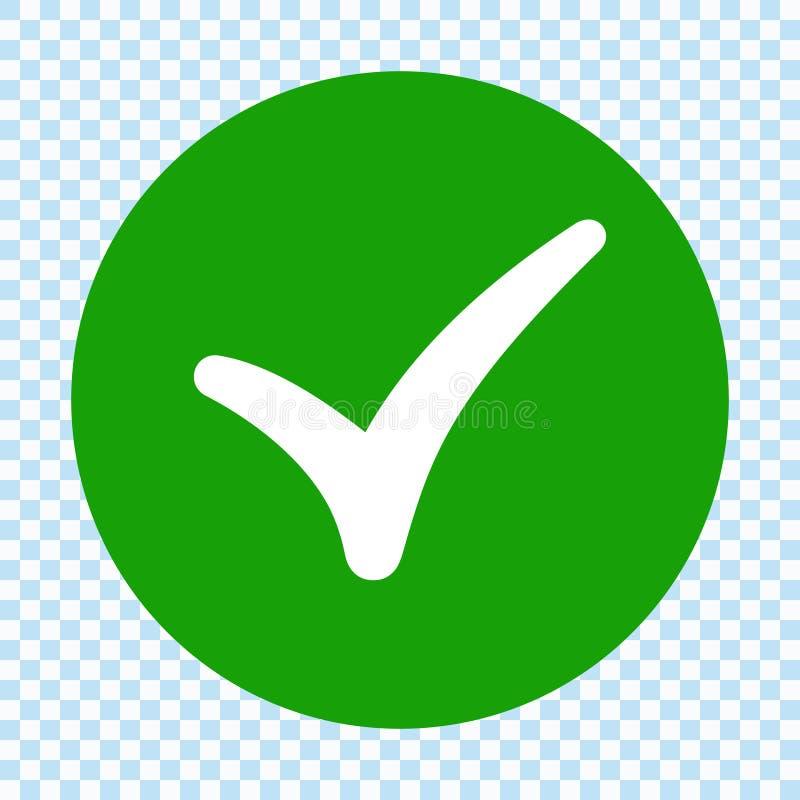 在圈子的绿色校验标志 平的设计 查出 库存例证
