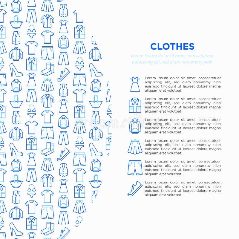 在圈子的衣物概念与稀薄的线象集合:衬衣,鞋子,裤子,有冠乌鸦,运动鞋,短裤,内衣,礼服,裙子, 向量例证