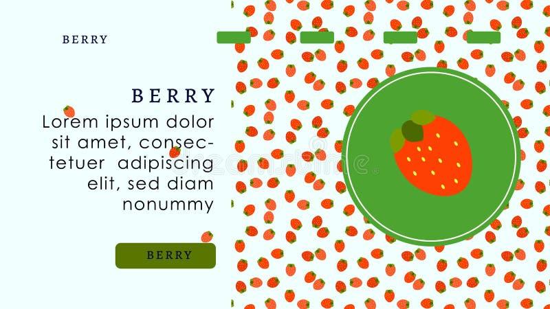 在圈子的野草莓烹调和装饰的欢乐蛋糕或点心 红色和绿色糖果店网站着陆页 向量例证