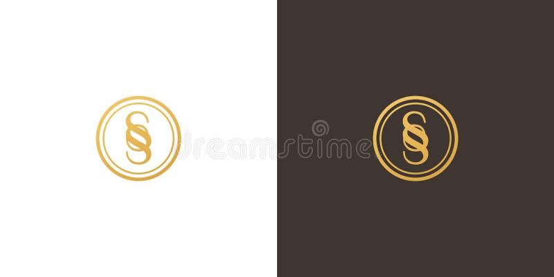 在圈子的金优质SS组合图案商标 库存例证