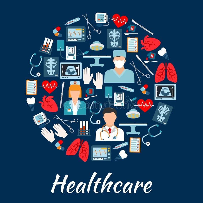 在圈子的医疗保健和手术象塑造 库存例证