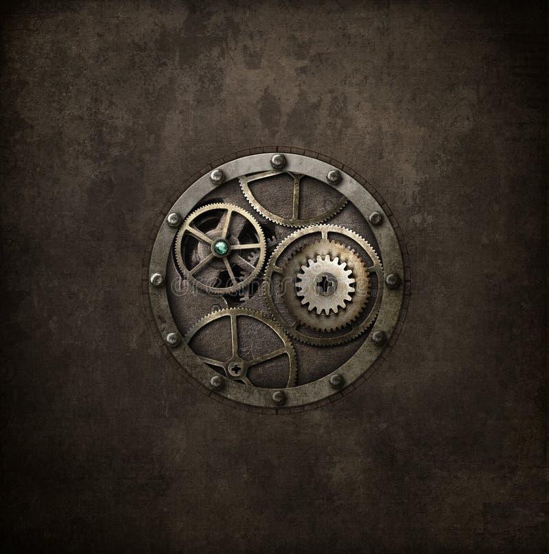 在圈子的Steampunk机械 免版税库存照片