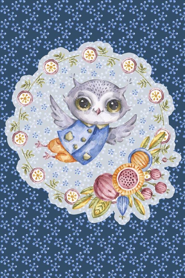 在圈子花框架的逗人喜爱的水彩猫头鹰 向量例证