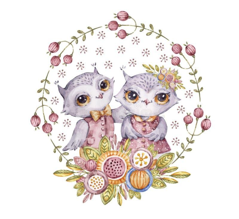 在圈子花花圈的两头逗人喜爱的水彩画猫头鹰 向量例证