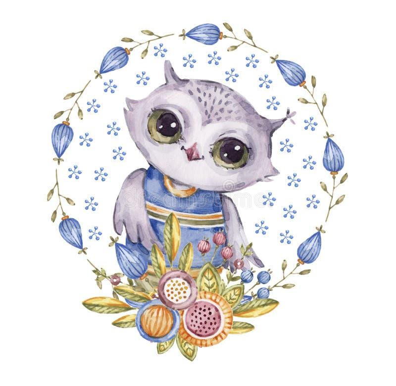在圈子花花圈的逗人喜爱的水彩画猫头鹰 库存例证