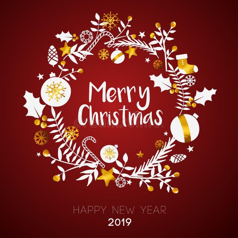 在圈子金黄装饰品卡片里面的圣诞快乐在深红B 向量例证