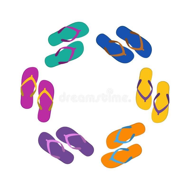 在圈子,平的例证的夏天五颜六色的拍击声 库存例证