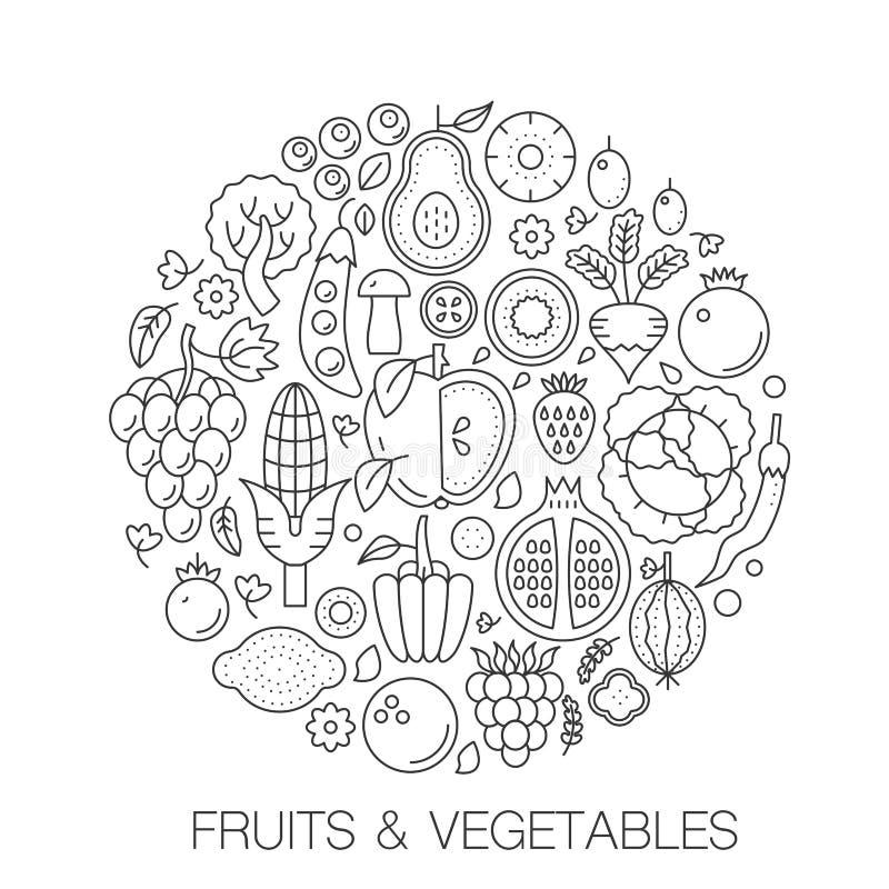 在圈子-盖子的,象征,徽章概念线例证的果菜类食物 果菜类变薄线 皇族释放例证