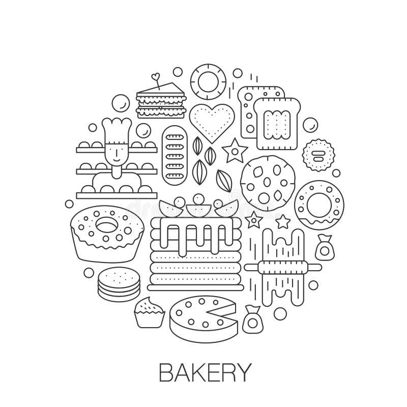 在圈子-盖子的,象征,徽章概念线例证的面包店酥皮点心 鲜美甜食物稀薄的线冲程象 库存例证