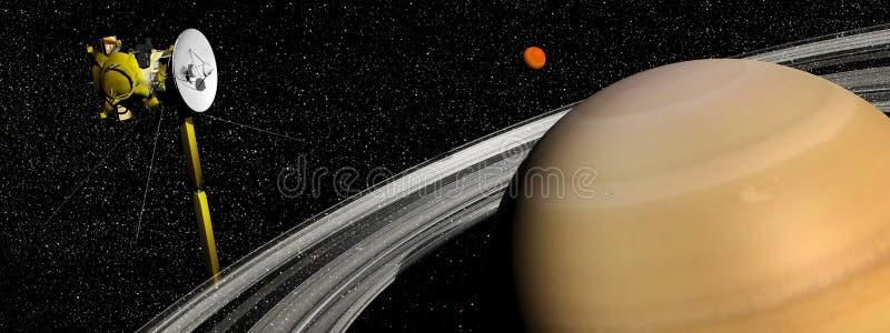 在土星和巨人卫星附近的Cassini航天器- 3D回报 库存例证