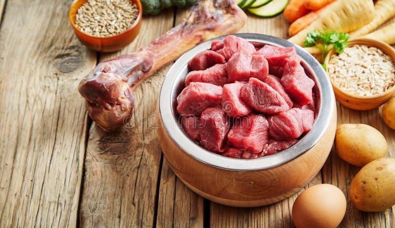在土气地板上的健康新鲜的宠物食品成份 免版税库存照片