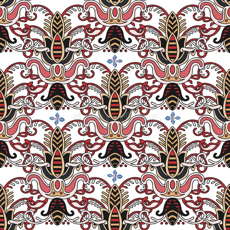 在土耳其样式的无缝的五颜六色的样式 葡萄酒装饰背景 手拉的装饰品 回教,阿拉伯语,无背长椅 库存例证
