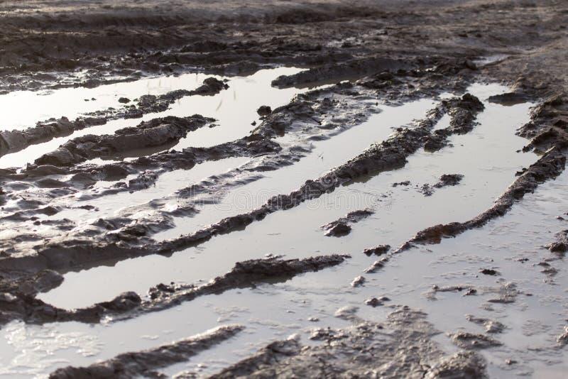 在土路的泥浆坑 库存照片