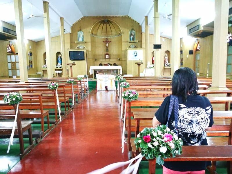 在圣保罗传道者天主教会内 库存图片