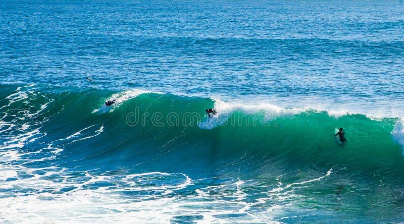 在圣克鲁斯海湾的不可思议的巨大的波浪做这海浪 免版税库存图片
