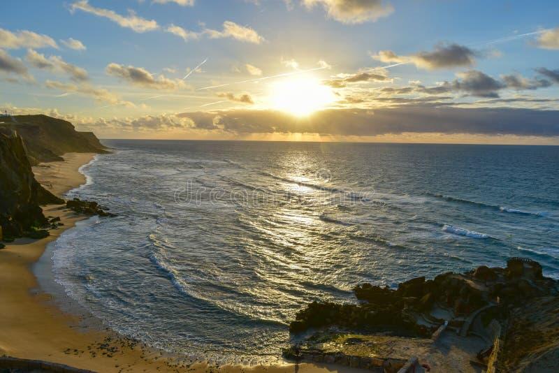 在圣克鲁斯-葡萄牙的日落 免版税库存照片