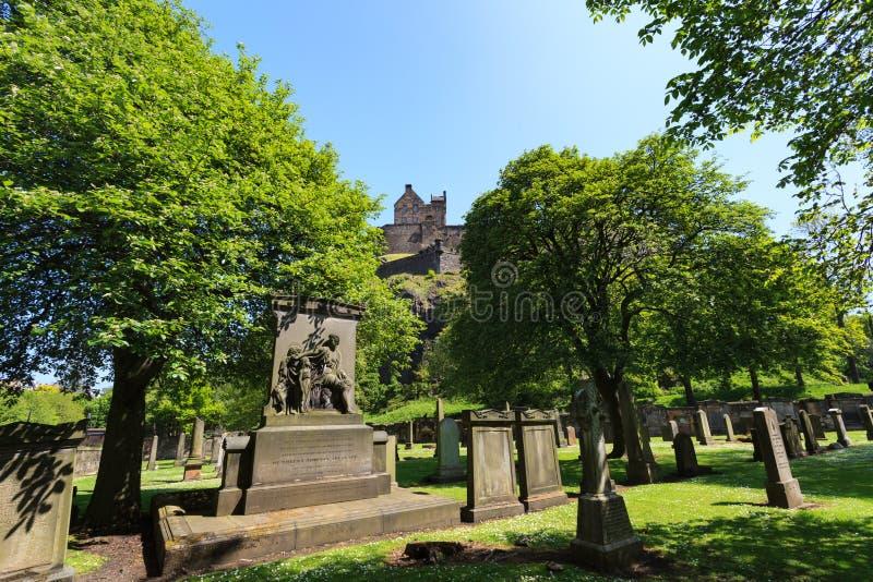 在圣卡思伯特教区教堂的墓碑在晴天 免版税库存图片