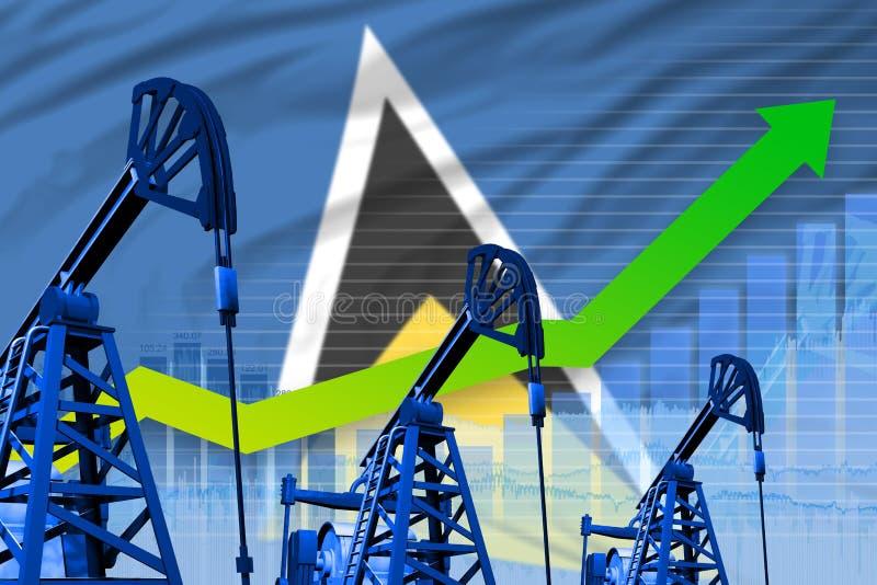 在圣卢西亚旗子背景-圣卢西亚石油工业或市场概念的工业例证的增长的图表 3d 皇族释放例证