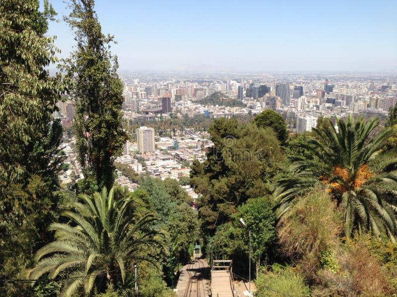 在圣地亚哥de智利的鸟瞰图 免版税库存图片