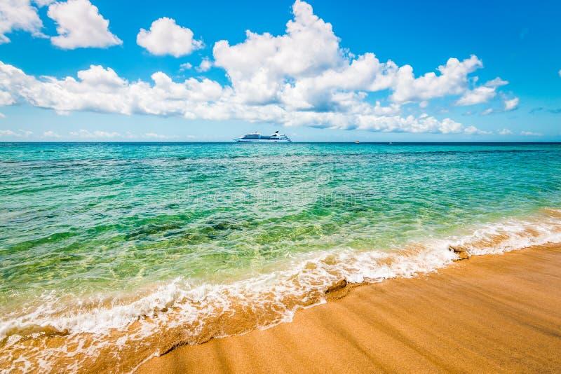 在圣基茨希尔,加勒比的美丽的海滩 免版税库存图片