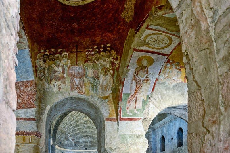 在圣尼古拉斯教会,代姆雷墙壁上的一幅老壁画  免版税库存图片