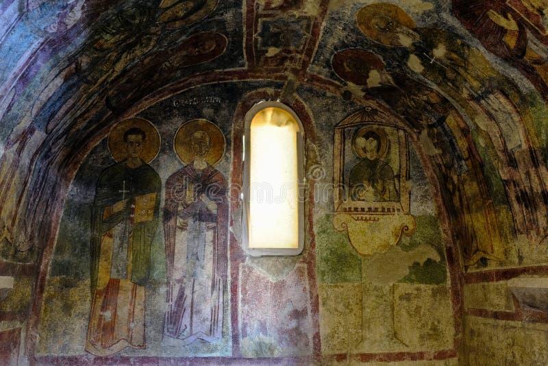 在圣尼古拉斯教会,代姆雷墙壁上的一幅老壁画  库存图片