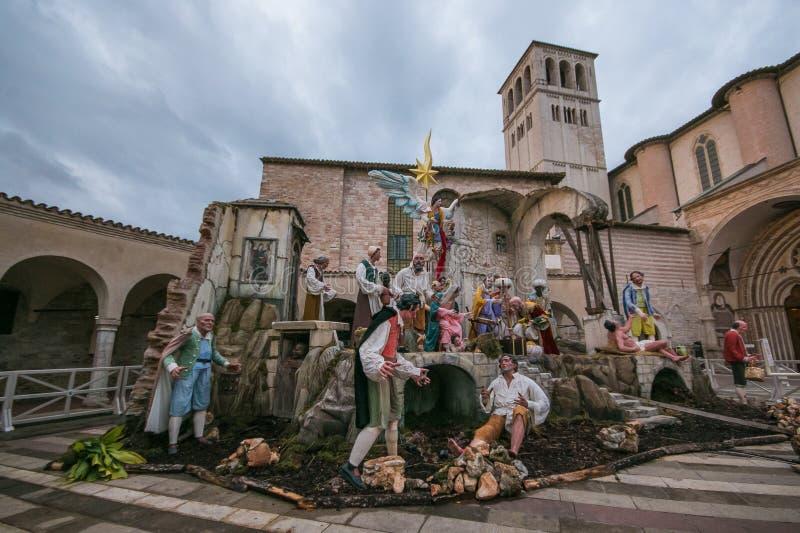 在圣弗朗西斯前面大教堂的诞生场面在阿西西,翁布里亚 库存照片