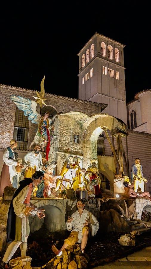 在圣弗朗西斯大教堂的诞生场面在圣诞节打过工在阿西西 图库摄影