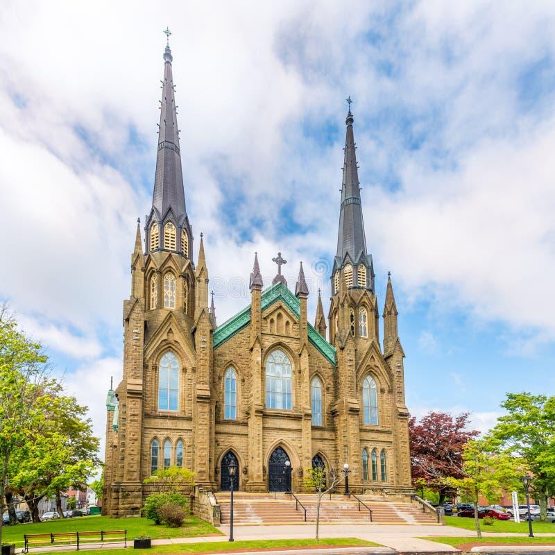 在圣徒Dunstant大教堂的看法在夏洛特敦-加拿大 免版税图库摄影