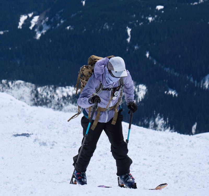 在圣海伦山全国火山的纪念碑的Backcountry滑雪 库存图片