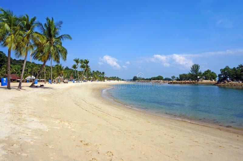 在圣淘沙海岛的Siloso海滩 免版税库存图片