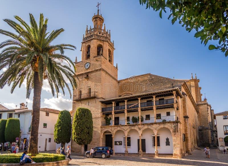 在圣玛丽亚la市长教会的看法在朗达-西班牙 库存照片