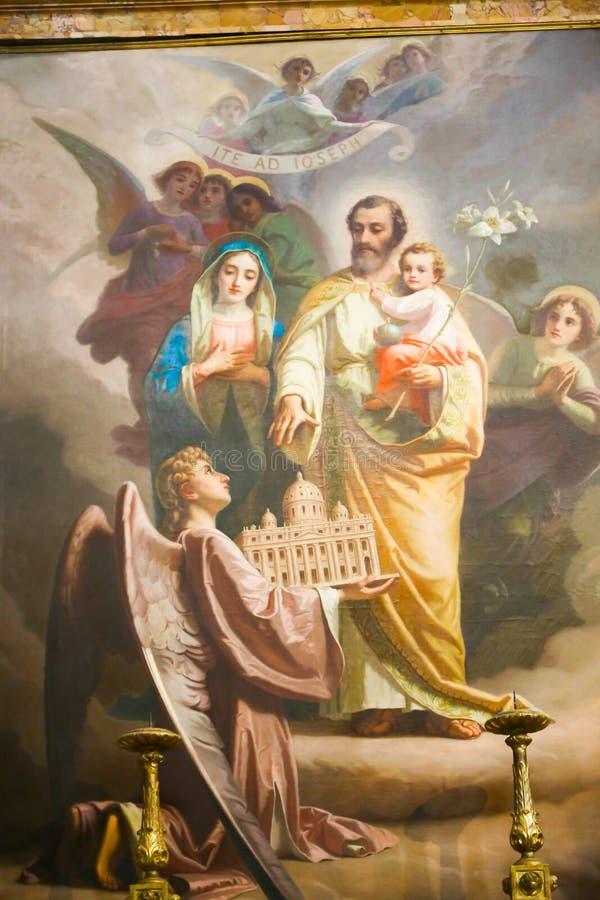 在圣玛丽少校里面大教堂的圣洁家庭绘画  库存照片