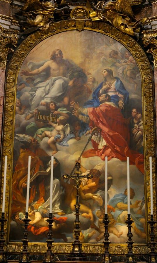 在圣玛丽少校里面大教堂的绘画  免版税库存照片
