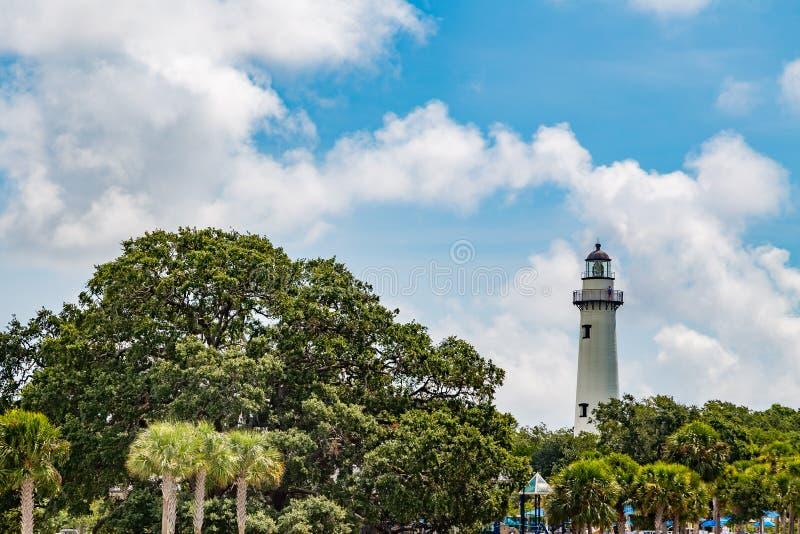 在圣西蒙的海岛上的灯塔 库存图片