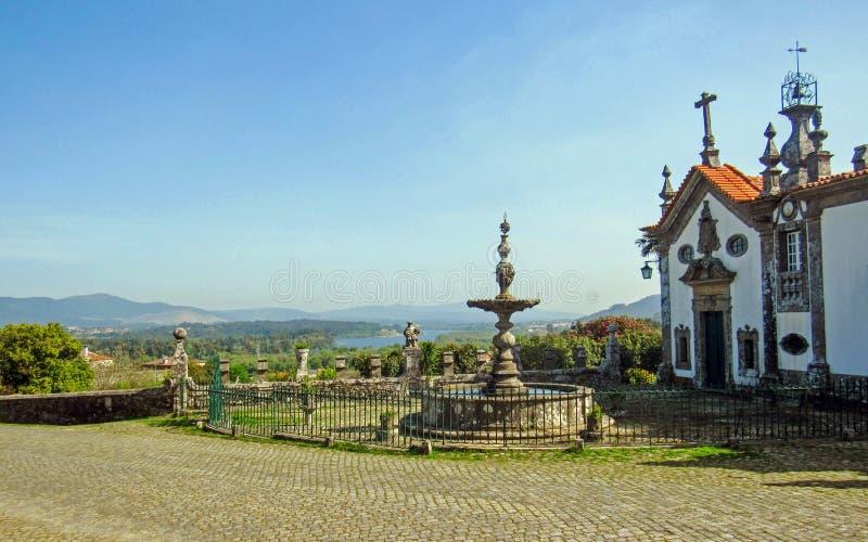 在圣詹姆斯方式卡米诺葡萄牙肋的途中的教会在葡萄牙 库存图片