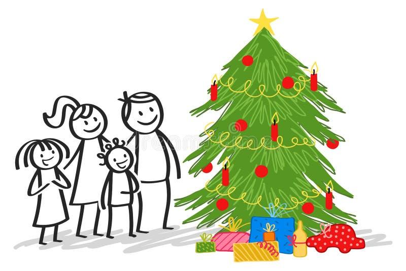 在圣诞树、棍子形象、微笑的父母有愉快的孩子的,女儿和儿子旁边的幸福家庭身分 库存例证
